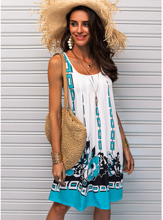 Print Shift U-Neck Sleeveless Midi Casual Vacation Tank Dresses