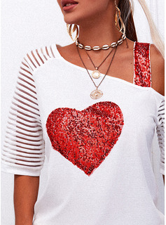 Regular Fitted Sequins Heart Casual Short Sleeves