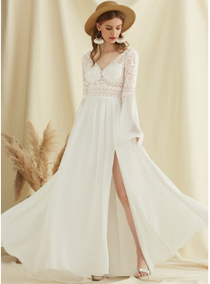 V-neck Sweep Train Chiffon Lace Wedding Dress With Split Front