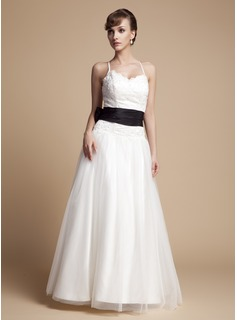 A-Line/Princess V-neck Floor-Length Tulle Lace Wedding Dress With Ruffle Sash Beading Bow(s)