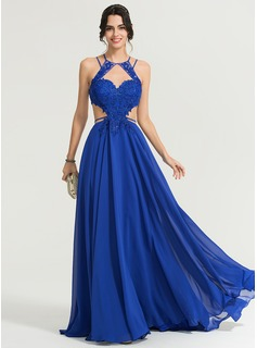 A-Line/Princess Scoop Neck Sweep Train Chiffon Evening Dress With Sequins