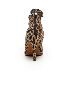 Women's Nubuck Boots Latin Modern Ballroom With Animal Print Dance Shoes