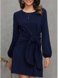Solid A-line Round Neck Long Sleeves Lantern Sleeve Midi Casual Skater Dresses