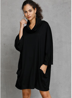 3/4 Sleeves Cotton Polyester Round Neck Knit Blouses