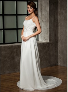 A-Line/Princess Scoop Neck Chapel Train Chiffon Wedding Dress With Ruffle Beading Sequins