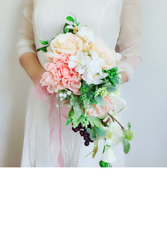 Classic Hand-tied Organza/Ribbon/Silk Flower Bridal Bouquets (Sold in a single piece) - Bridal Bouquets