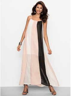 Chiffon With Stitching Maxi Dress