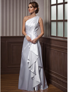 One-Shoulder Floor-Length Charmeuse Evening Dress