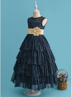 Ball-Gown/Princess Ankle-length Flower Girl Dress - Lace Sleeveless Scoop Neck With Flower(s) (Detachable sash)