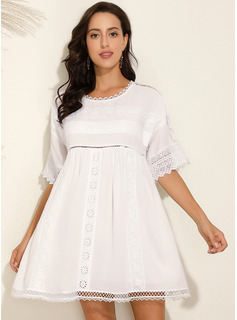 Cotton Blends With Solid Above Knee Dress
