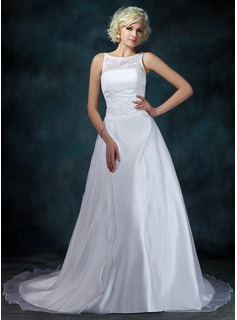 A-Line/Princess Scoop Neck Chapel Train Satin Organza Wedding Dress With Lace Beading