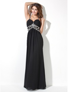 A-Line/Princess Sweetheart Floor-Length Chiffon Evening Dress With Ruffle Beading