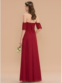A-Line Sweetheart Floor-Length Chiffon Lace Bridesmaid Dress