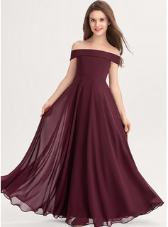 A-Line Off-the-Shoulder Floor-Length Chiffon Junior Bridesmaid Dress