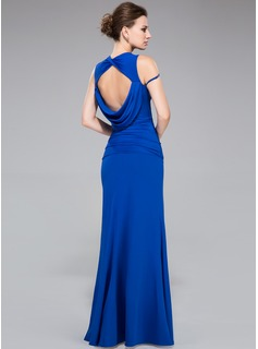 Sheath/Column Scalloped Neck Floor-Length Jersey Evening Dress With Ruffle Beading Split Front
