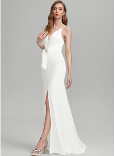 Sheath/Column V-neck Sweep Train Stretch Crepe Wedding Dress With Bow(s) Split Front