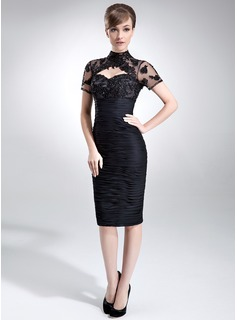 Sheath/Column High Neck Knee-Length Chiffon Mother of the Bride Dress With Ruffle Lace Beading