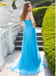 A-Line/Princess One-Shoulder Sweep Train Chiffon Prom Dresses With Ruffle Beading Split Front
