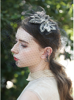 One-tier Cut Edge Birdcage Veils With Embroidery/Beading