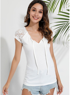 Short Sleeves Polyester Round Neck Knit Blouses