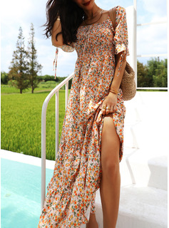 long black pink floral dress
