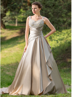Sweetheart Court Train Satin Wedding Dress With Ruffle Beading Appliques Lace Cascading Ruffles