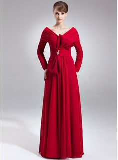A-Line/Princess Off-the-Shoulder Floor-Length Chiffon Mother of the Bride Dress With Ruffle Beading Bow(s)