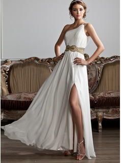 One-Shoulder Floor-Length Chiffon Prom Dresses