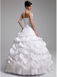 Ball-Gown One-Shoulder Floor-Length Taffeta Quinceanera Dress With Ruffle Beading Appliques Lace Flower(s) Sequins
