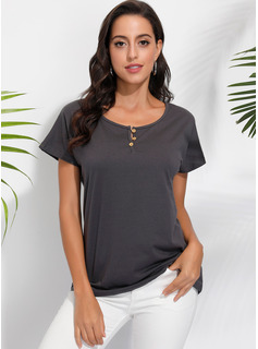Short Sleeves Cotton Nylon Linen V Neck T-shirt Does not include accessories. Blouses