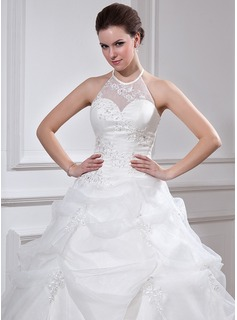 Ball-Gown Halter Floor-Length Organza Quinceanera Dress With Ruffle Beading Appliques Lace
