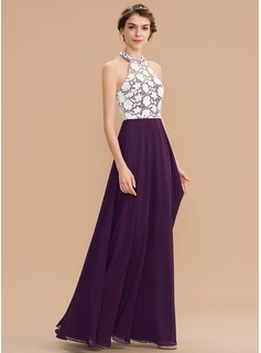 A-Line Halter Floor-Length Chiffon Lace Bridesmaid Dress