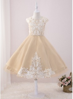 Tea-length Flower Girl Dress - Tulle Lace Sleeveless Scoop Neck With Beading Sequins