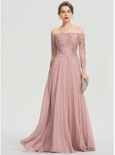 Off-the-Shoulder Floor-Length Chiffon Prom Dresses With Sequins Pleated