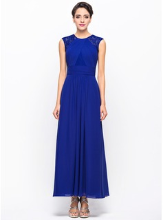 Scoop Neck Ankle-Length Chiffon Lace Evening Dress With Ruffle