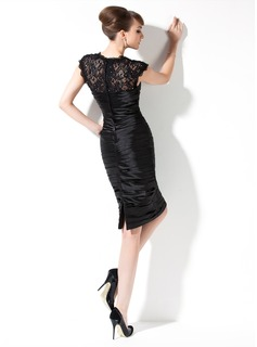 Sheath/Column Sweetheart Knee-Length Charmeuse Mother of the Bride Dress With Ruffle Lace Beading