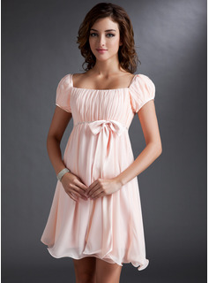 Empire Square Neckline Short/Mini Chiffon Bridesmaid Dress With Ruffle Beading Sequins Bow(s)