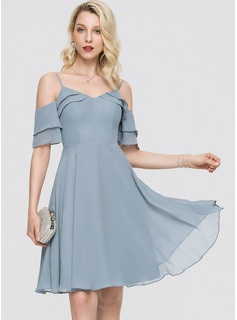 A-Line V-neck Knee-Length Chiffon Cocktail Dress With Cascading Ruffles