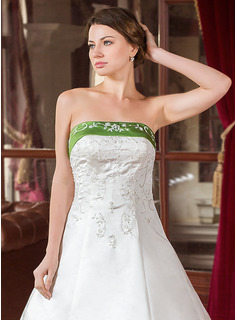 Ball-Gown Strapless Royal Train Satin Wedding Dress With Embroidered Sash Beading