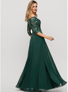 Off-the-Shoulder Floor-Length Chiffon Evening Dress With Sequins