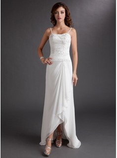 Sheath/Column Sweetheart Asymmetrical Chiffon Wedding Dress With Beading Appliques Lace Sequins Cascading Ruffles