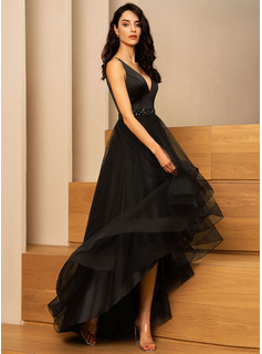 A-Line V-neck Asymmetrical Tulle Prom Dresses With Beading
