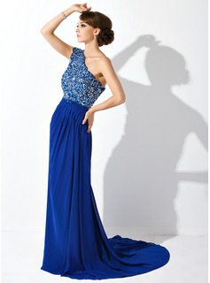 A-Line/Princess One-Shoulder Court Train Chiffon Mother of the Bride Dress With Ruffle Lace Beading Sequins