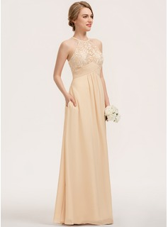 A-Line Scoop Neck Floor-Length Chiffon Lace Prom Dresses With Ruffle Pockets