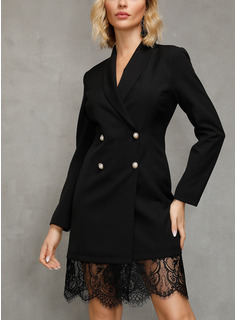 Polyester With Lace/Button/Stitching/Solid Above Knee Dress