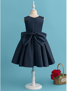 A-Line Knee-length Flower Girl Dress - Satin Sleeveless Scoop Neck With Beading/Bow(s)
