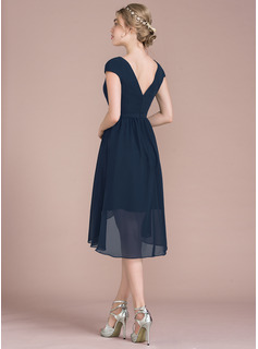 A-Line/Princess V-neck Asymmetrical Chiffon Bridesmaid Dress