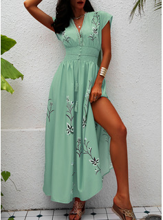 Floral Print A-line V-Neck Short Sleeves Maxi Casual Vacation Skater Dresses