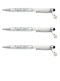 Personalized Plastic Roller Pen With Rhinestone (Set of 2)