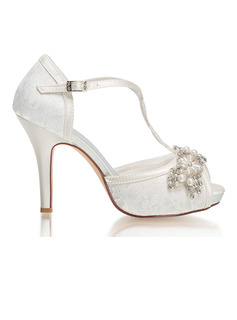 Women's Lace Silk Like Satin Stiletto Heel Peep Toe Platform Pumps With Buckle Rhinestone Pearl